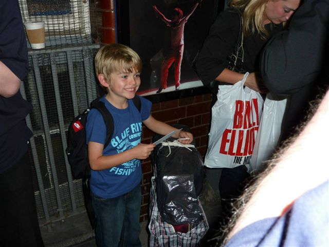 With parents Ruth and Robert after Eliot's last night as 'Small Boy' in Billy Elliot. 26-09-2009.