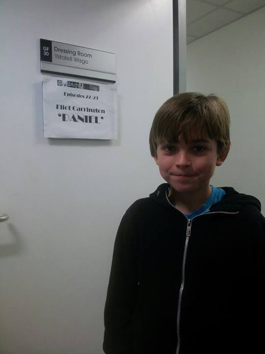"""Eliot in his dressing room on the set of \""""Casualty\""""."""